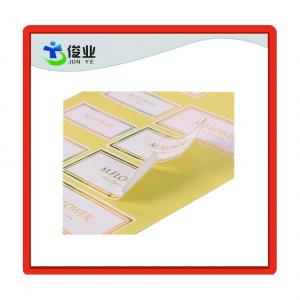 China Custom Made Self Adhesive White Stickers with Gold Hot Stamping Border on sale