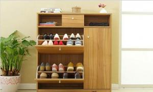 China Living Room Furniture Particle Board Shoe Rack With Wooden Drawer Slides High Grade on sale