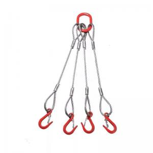 China Synthetic Single Leg Wire Rope Sling End With Master Link And Safety Hook on sale