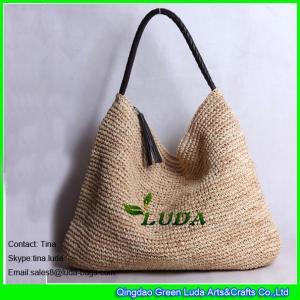 China LUDA high quality raffia handbags new designer sling raffia straw shoulder bags on sale