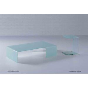 Quality Журнальный стол простого прямоугольника стеклянный, белизна согнул стеклянную мебель таблиц конца for sale