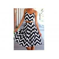 China Casual Womens Chevron Printed Dresses , Summer Women Pleated Skirt on sale