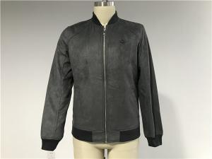 China Slim Fit Mock Suede Mens Baseball Jacket With Metal Zip Rib Collar TW66041 on sale