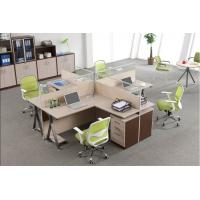 Custom Office Furniture Partitions With Storage Cabinet , 4 Person Workstation Desk