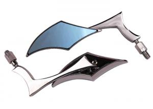 China Special Shaped Motorcycle Handlebar End Mirrors Electroplated Blue / White Glass on sale