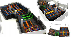 China 623M2 China Manufacture Commercial Kids and Adults Trampoline Park /Indoor Trampoline with Basketball Game on sale