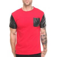Red shirt with black leather sleeve shirt and pocket men factory product