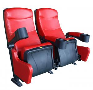 China Row Light Movie Theater Seats Leather Covering Retractable Reliable Durable on sale