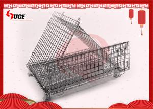 China Heavy Duty Movable Folding Wire Container / Collapsible Steel Wire Pallet Box With Casters on sale