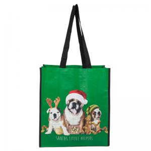 China Green Reusable Polypropylene Tote Bags With Three Pretty Dogs Solid Rope on sale