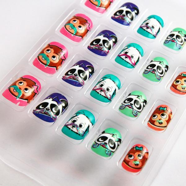 Animal Pattern Kids Fake Nails Colorful 3D False Nails For ...