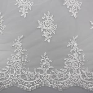 China Floral Embroidery Eyelash Corded Lace Fabric For Bridal Wedding Dresses on sale