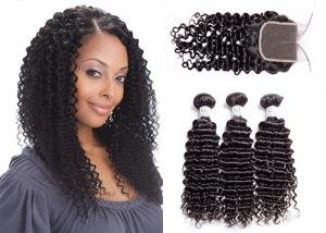 China No Bad Smell Deep Curly Hair Weave / 100% Human Deep Curly Virgin Hair on sale