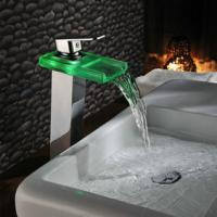 China Chrome Color Changing LED Waterfall Bathroom Sink Faucet T0818HF on sale