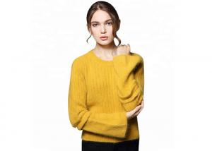 China Yellow Round Neck Cozy Knit Sweater Mustard Keep Warm Angora Knitted For Women on sale