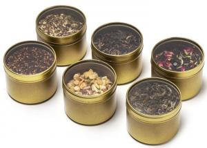 China Golden Color Small Metal Tins With Lids And PVC Clear Window , Fashion Design on sale