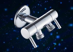 China Toilet Angle Valve Double Outlet Connect / Angle Control Valve With Zinc Alloy Knob on sale