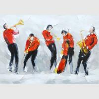 Large Contemporary Oil Paintings Music People Polyester Fabric For Living Room Wall Decor