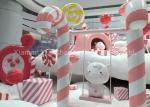 Oversize Shop Display Christmas Decorations Pink And White Fiberglass Candy