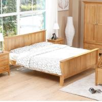 Natural Solid Wood Bedroom Furniture Sets Wooden Frame Simple Style Customized Size