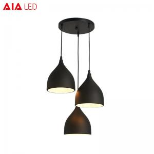 China Indoor Black 3piece/set  E27 dining room pendant light/LED droplight for eating house on sale
