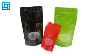 China Matte Plastic Fishing Lure Bags / Zippered Stand Up Pouches With Window on sale