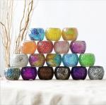 Mosaic Glass Votive Candle Holder, Tealight Candle Holder, Handmade Glass Candle Holder for Wedding Table Centerpieces,