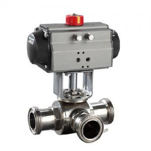 China Sanitary SS304,3 Way pneumatic Actuator Ball Valve Male Thread, Floating type,manual type on sale