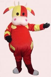 China big mouth red cow mascot cartoon costume  on sale