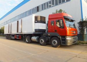 China 3 Axle Refrigerated Semi Trailer , Meat Transport Trailer 35t - 50t With Mechanical Suspension System on sale