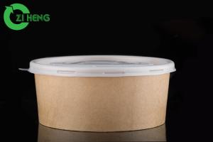 China Oven Proof Recyclable Kraft Paper Bowls Double PE Coating Cardboard Food Bowls on sale