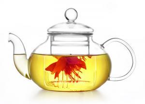 China 50 OZ Clear Heat Resistant Glass Teapot , Heat Proof Glass Tea Kettle on sale