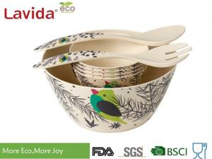 China Dishwasher Safe Bamboo Salad Bowl Set , Bamboo Fruit Bowl High Temp Tolerance on sale