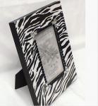 Decoupaged Wood Picture Frame with Zebra Stripes