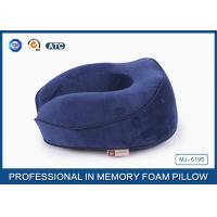 Ergonomic Sleep Design Memory Foam Travel Neck Pillow With Plush Cover , Adjustable