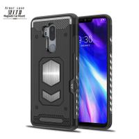 PC TPU Armor Smartphone Protective Case For LG G7 With Strong Magnetic And Card Slot