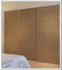 Classic Louvered Sliding Closet Doors With Aluminum Frame, Wood Sliding Wardrobe  Doors