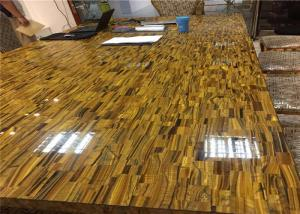 China Deluxe Semi Precious Stone Slabs Tiger Eye Stone Customized Size on sale
