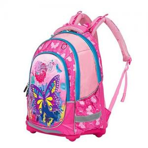 China Pink Butterfly Printing Kid School Bag Nylon Padded Back Panel Student Backpack on sale