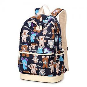 China Girls Mixed Color Cartoon Canvas Kid School Bag With Zipper Pocket Customized Logo on sale