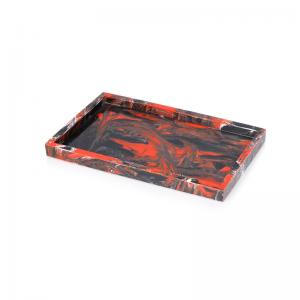 China Deluxe hotel flat black red mixed resin table tray decor on sale