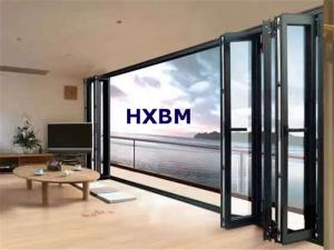 China large opening double glazed folding door,wood color aluminium frame bifold doors 60mm depth on sale
