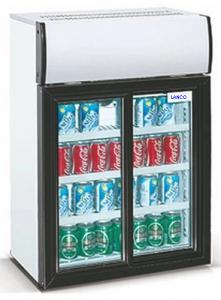 China 85L Low Power Double Sliding Door Small Display Refrigerator / Countertop Small Dispay Cooler on sale