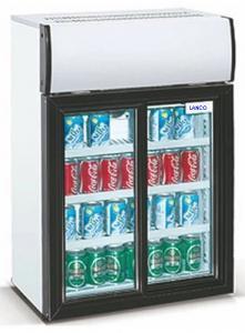China Low Power Double Sliding Door Beverage Cooler Refrigerator 85L 220V 50Hz on sale