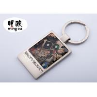 China Back Blank Square Photo Key Chains With Logo Printed / Custom Metal Key Tags on sale