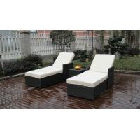 China Adjustable Resin Wicker Lounge Chair Set , Beach Chaise Lounge on sale