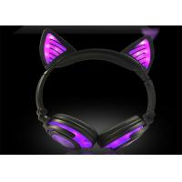 China Portable and foldable charming purple LED light wireless cat ear headphone 108L on sale