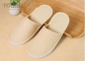 China Pure Cotton Yellow EVA Disposable Hotel Slippers Terry Towel on sale