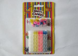 China Multi - Colored Decorative Spiral Taper Striped Birthday Candles With 24 Pcs/Set on sale