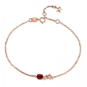 China Petite Stationed Ruby 18k Gold Jewelry Ruby And Diamond Bracelet  supplier